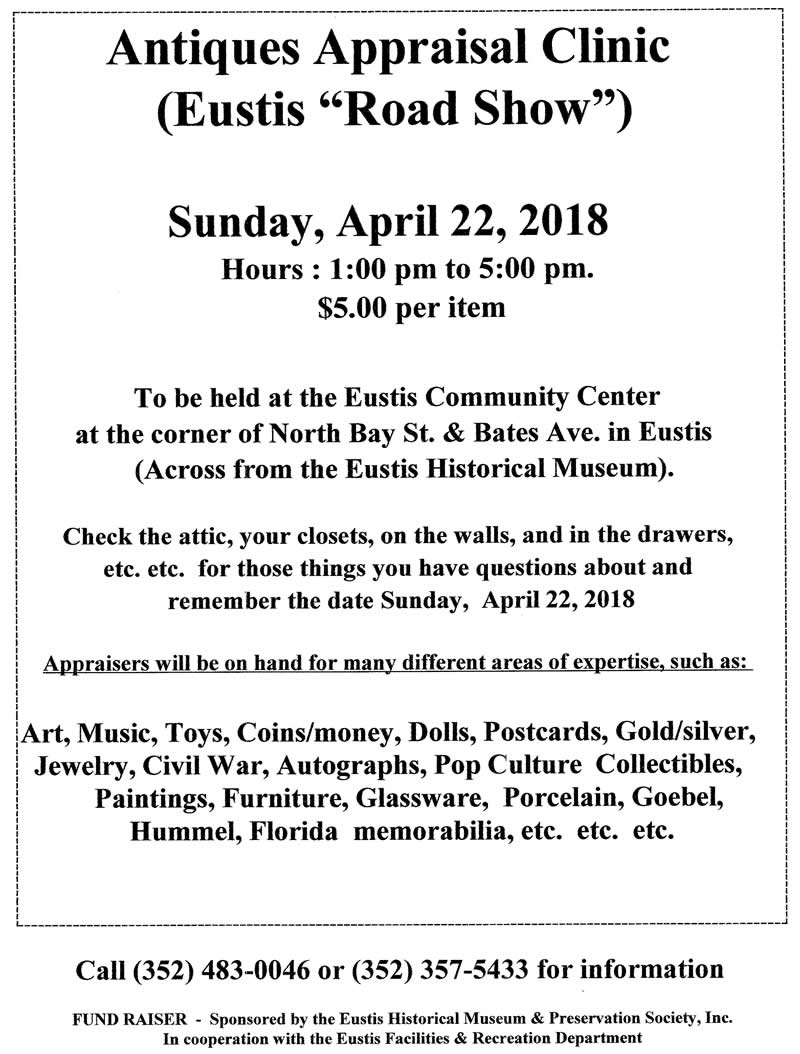Antiques Appraisal Clinic Sunday April 22, 2018